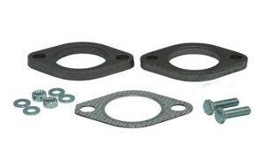 2-hole steel Flanges (pair) with gasket Ø44.5mm - 1.75inch
