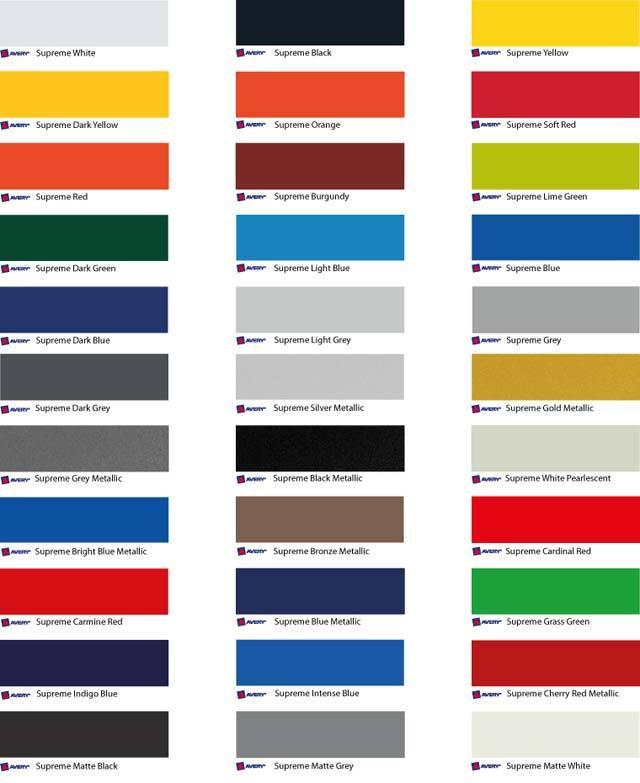 Avery carwrap folie kleuren